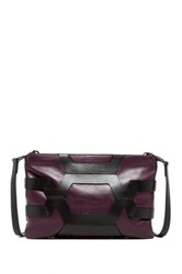 Christopher Kon Caged Leather Crossbody Clutch Purple