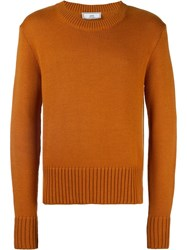Ami Alexandre Mattiussi Crew Neck Sweater Yellow Orange