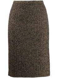 Red Valentino Chevron Pencil Skirt Neutrals