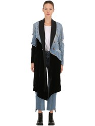 Greg Lauren 50 50 Velvet And Vintage Denim Coat Black Blue