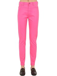 Gucci High Rise Waxed Cotton Denim Jeans Fuchsia