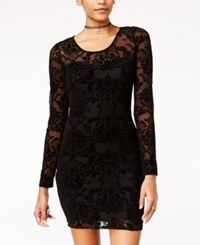 Material Girl Juniors' Flocked Bodycon Dress Only At Macy's Black