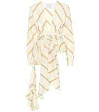 Johanna Ortiz Party Wave Striped Cotton Top Beige
