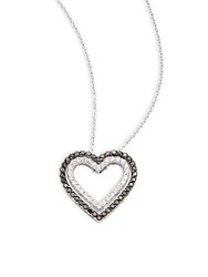 Effy Diamond And 14K White Gold Heart Shaped Pendant Necklace