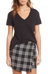 Madewell Women's 'Whisper' Cotton V Neck Pocket Tee True Black