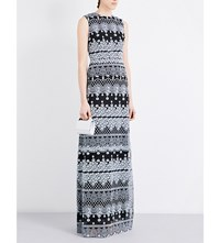 Erdem Morwenna Crepe Silk Maxi Dress Pale Blue Black