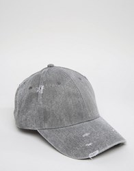 Asos Distressed Baseball Cap In Charcoal Charcoal Grey