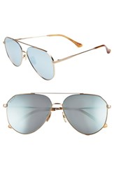 Diff X Jessie James Decker Dash 61Mm Polarized Aviator Sunglasses Brushed Gold Blue Brushed Gold Blue