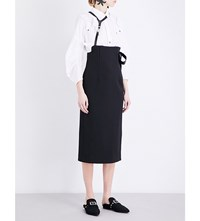 Toga Faux Leather Straps Twill Pencil Skirt Black