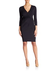 Anne Klein Plus Long Sleeve Faux Wrap Dress Black