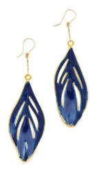 Aurelie Bidermann 18K Gold Genuine Feather Earrings Blue Klein