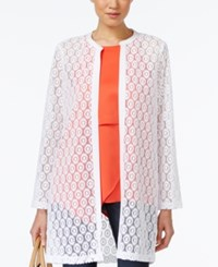 Alfani Long Geometric Lace Cardigan Only At Macy's Bright White