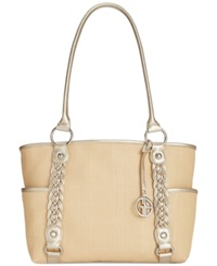 Giani Bernini Handbag Dreamweaver Straw Tote Natural Gold