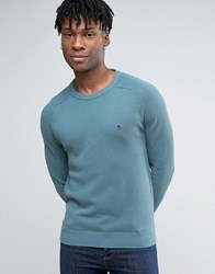 Original Penguin Crew Jumper Honeycomb Texture Knit In Blue Aegean Blue
