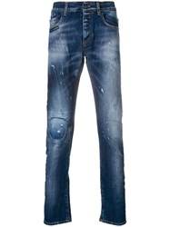Frankie Morello Paint Stain Slim Fit Jeans Blue
