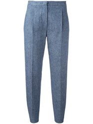 Msgm Pleat Detail Cropped Trousers Blue