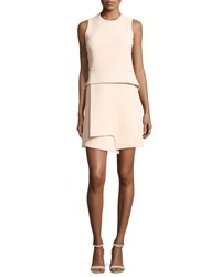 Carven Sleeveless Notched Crepe Peplum Dress Beige