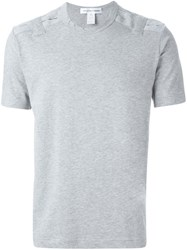 Comme Des Garcons Shirt Cut Out Shoulder Detail T Shirt Grey