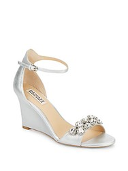 Badgley Mischka Clear Rhinestone Accented Wedges Silver