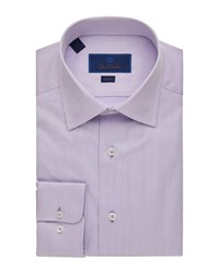 David Donahue Slim Fit Striped Dress Shirt Pink