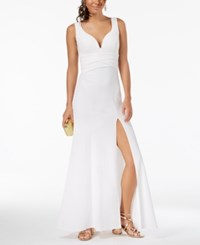 Emerald Sundae Juniors' Sweetheart Side Slit Gown White