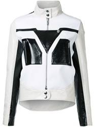 Courreges Graphic Contrast Faux Leather Jacket Women Polyester Polyurethane 36 Black