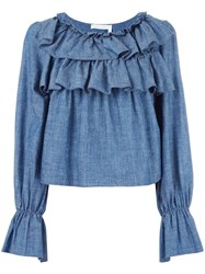 See By Chloe Tiered Ruffle Blouse Blue