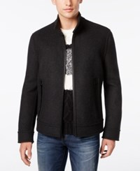 Andrew Marc New York Men's Trail Wool Double Faced Bomber Jacket Fog