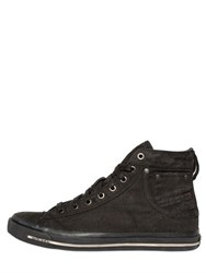 Diesel Coated Denim High Top Sneakers