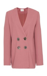 Bouguessa Double Breasted Wool Crepe Blazer Pink