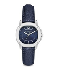 Burberry Britain Stainless Steel And Leather Strap Watch Blue Navy Silver