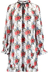 Mother Of Pearl Lucille Ruffled Floral Print Silk Georgette Mini Dress Red
