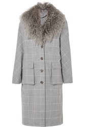 Lela Rose Shearling Trimmed Checked Woven Coat Gray