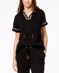 Styleandco. Style Co Embroidered Short Sleeve Sweatshirt Created For Macy's Medium Black