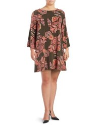 Context Plus Floral Print Bell Sleeve Dress Pink