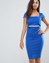 Jessica Wright Belted Capped Sleeve Midi Dress Blue