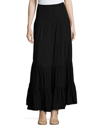 Joan Vass Tiered A Line Maxi Skirt Black