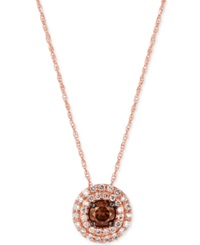 Le Vian Chocolatier Chocolate And White Diamond Circular Pendant Necklace 1 2 Ct. T.W. In 14K Rose Gold