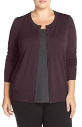 Sejour Plus Size Women's Crewneck Cardigan Burgundy Royale