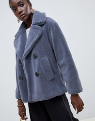 Warehouse Double Breasted Teddy Coat In Blue Brown