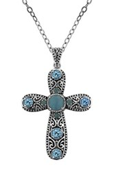 Dani G Jewelry Sterling Silver Blue Jade And Topaz Cross Pendant Necklace