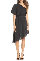 Charles Henry One Shoulder Asymmetrical Dress Black