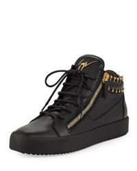 Giuseppe Zanotti Men's Leather Mid Top Sneaker With Gold Piercing Details Black