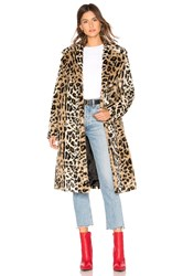 Kendall Kylie Faux Fur Long Coat Brown
