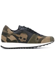 Hydrogen Panel Camouflage Skull Sneakers Men Cotton Leather Rubber 39 Green