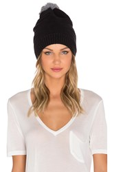Plush Fleece Lined Pom Pom Beanie Black