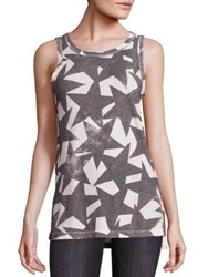 Current Elliott Cotton Star Print Muscle Tee Dirty White Starstruck