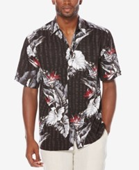 Cubavera Men's Big And Tall Tropical Short Sleeve Shirt Jet Black
