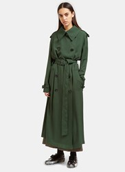Acne Studios Lucie Long Trench Coat Green