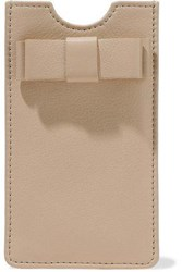 Red Valentino Bow Embellished Textured Leather Phone Case Beige